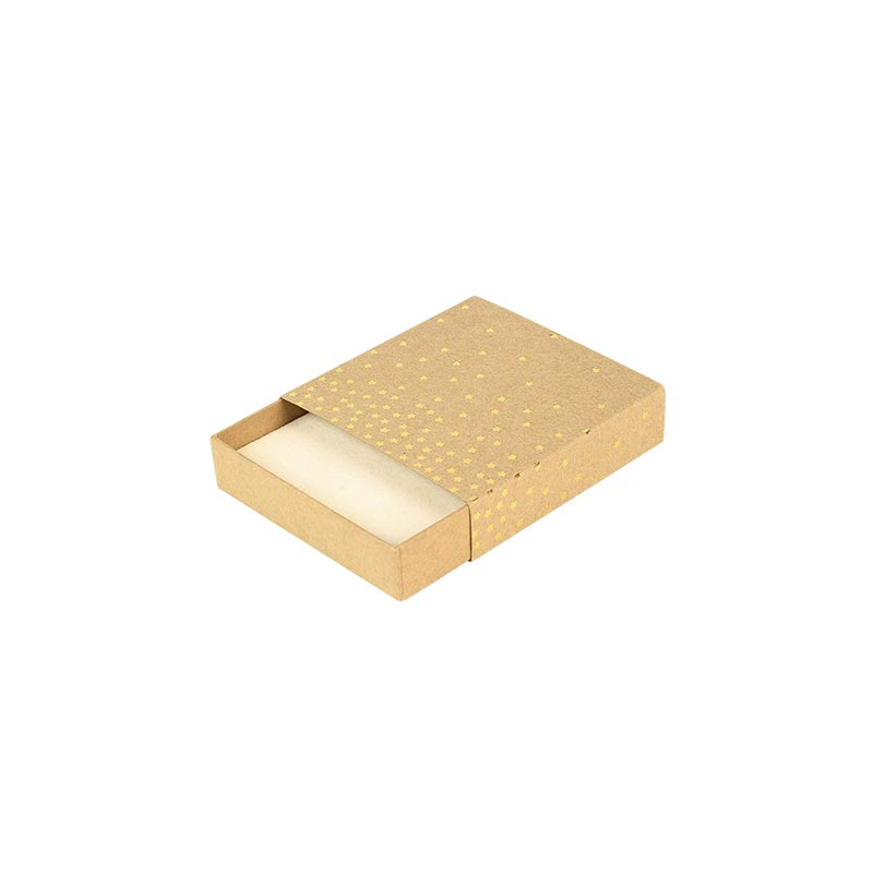 Matchbox style natural kraft card universal box - Gold, hot-foil printed star motifs