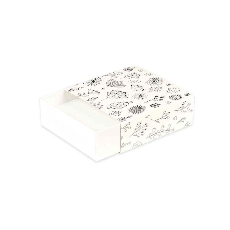 Matt white matchbox style card box - Silver hot-foil printed \\\'Botanical floral\\\' motifs