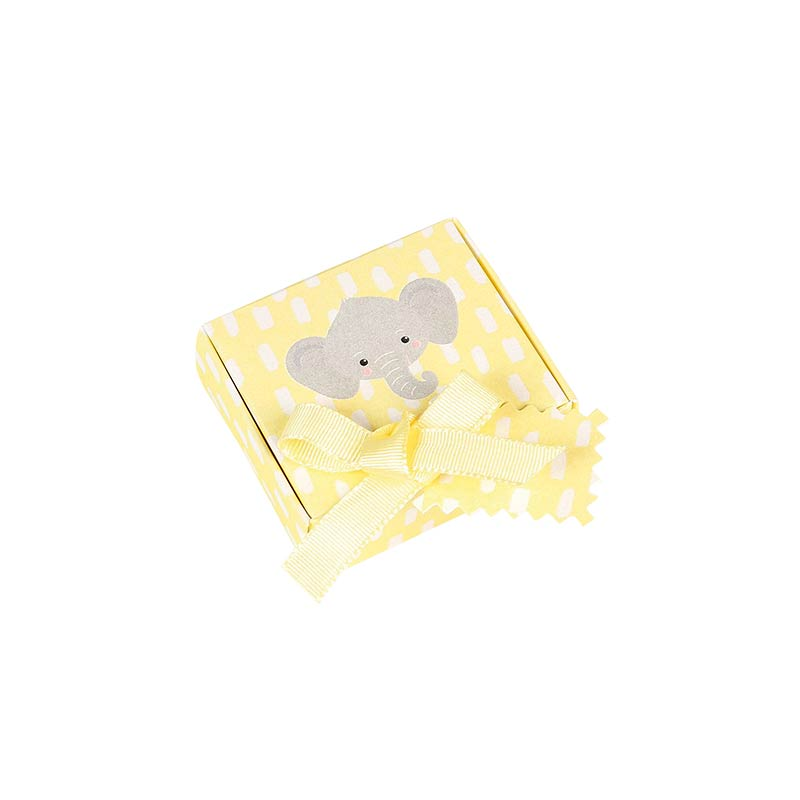Pearlescent yellow Elephant children's card gift box