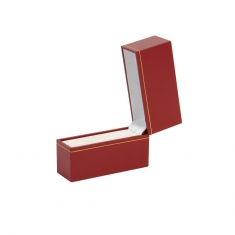 Red leatherette bangle presentation box with gold border