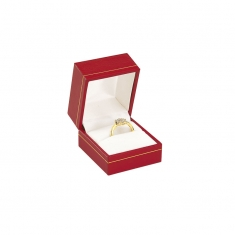 Red man-made leatherette jewellery presentation box with gold border detail