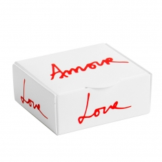 Romantic card ring / earrings box printed with \\\'Amour\\\' and \\\'Love\\\'