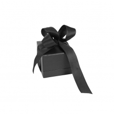 Satin finish black leatherette jewellery presentation boxes with ribbon