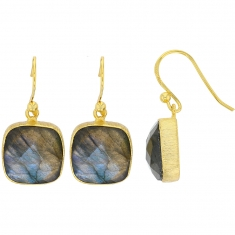 Square Labradorite and gilded sterling silver earrings