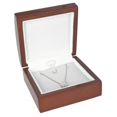 Varnished wooden jewellery presentation box