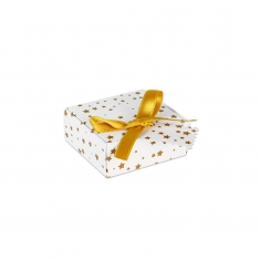 White card ring and earring box with gold star print, man-made foam insert and gold ribbon