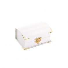 White leatherette box with gold edging for pair of wedding rings