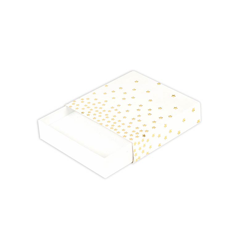 White matchbox style satin finish card universal box - Gold, hot-foil printed star motifs