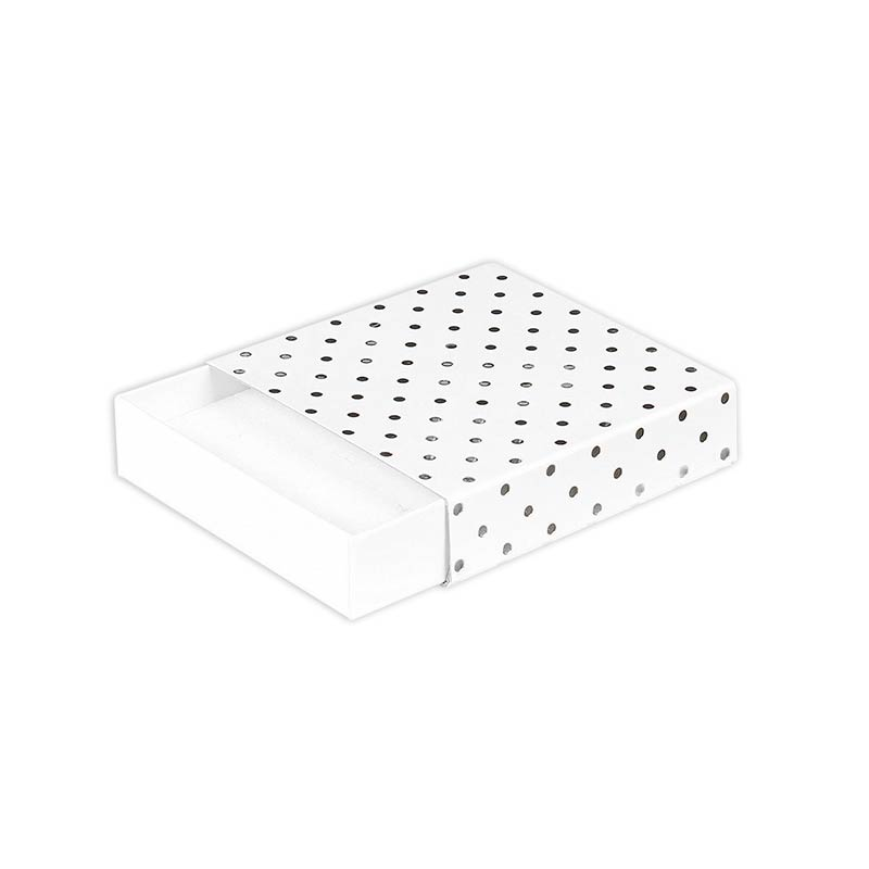 White matchbox style satin finish card universal box - Silver, hot-foil printed polka dots