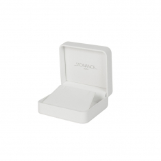 White smooth finish man-made leatherette jewellery presentation boxes