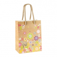 Kraft paper bags with flower print
