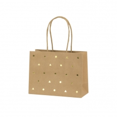 Kraft paper carrier bags with shiny gold triangle and circle details