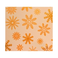 Kraft paper gift wrap decorated with shiny gold snowflakes