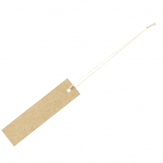 Kraft card strung labels with cotton thread, 1.5 x 6 cm