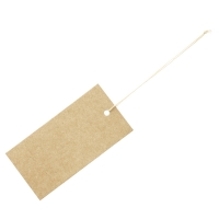 Kraft card strung labels with cotton thread - 3.5 x 7 cm