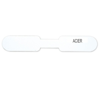 Self-adhesive plastic labels for rings - with inscription in French ACIER