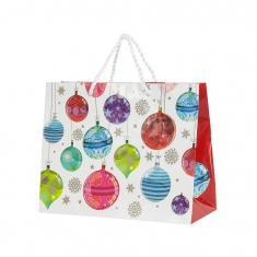 Laminated paper carrier featuring Christmas baubles