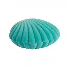 Light blue scallop shell jewellery presentation box in man-made velveteen