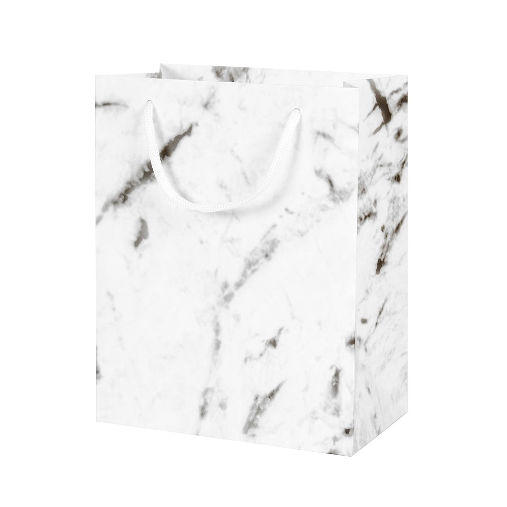 Marble effect paper boutique bag with rope handles, matt finish