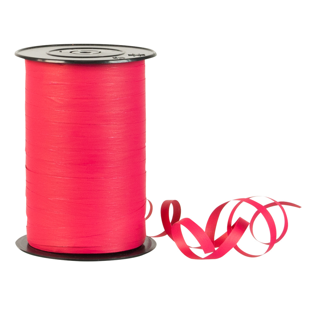 Matt fuchsia coloured gift curling ribbon - crepe paper finish