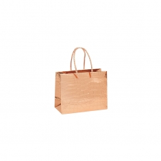 Mirror-effect embossed crocodile paper boutique bags