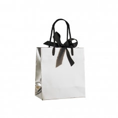 Mirror-effect silver paper boutique bags with contrasting black rope handles and ribbon fastener