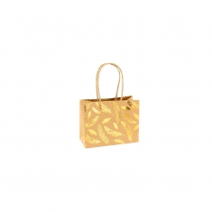 Natural kraft paper boutique bags with gold-coloured shiny feather details 120g