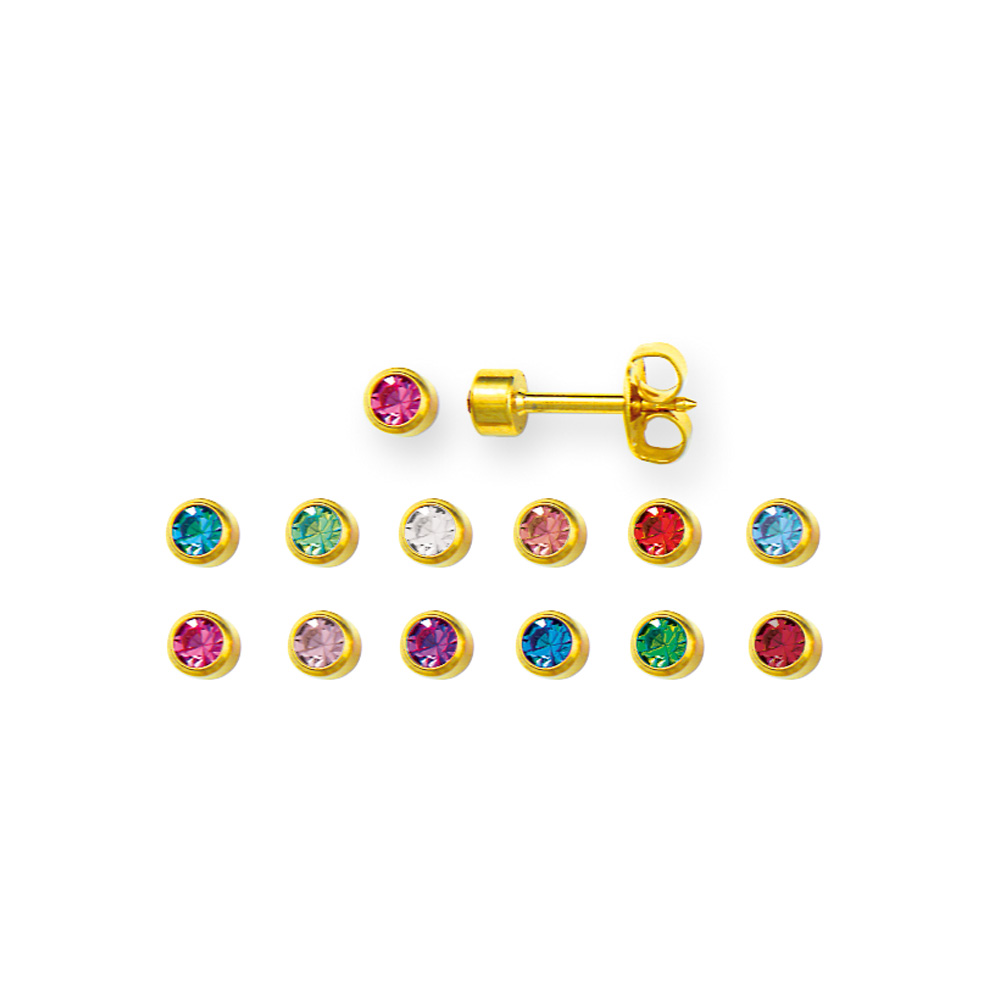 Nickel free gold-coloured metal piercing stud earrings by Caflon