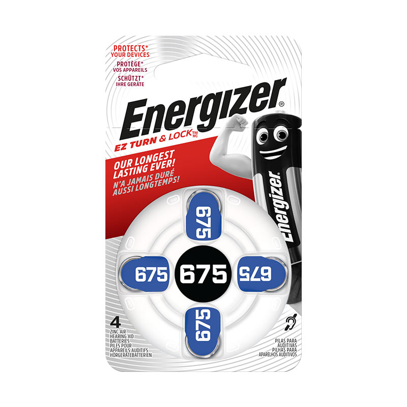 Pack of 4 Energizer AC675 hearing aid batteries