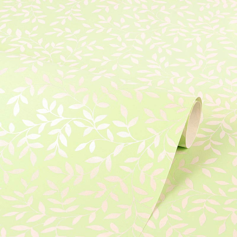 Pastel green gift wrapping paper, matt background with white pearlescent foliage motifs