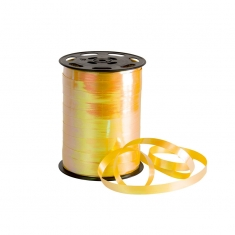Pearlescent finish yellow gift curling ribbon