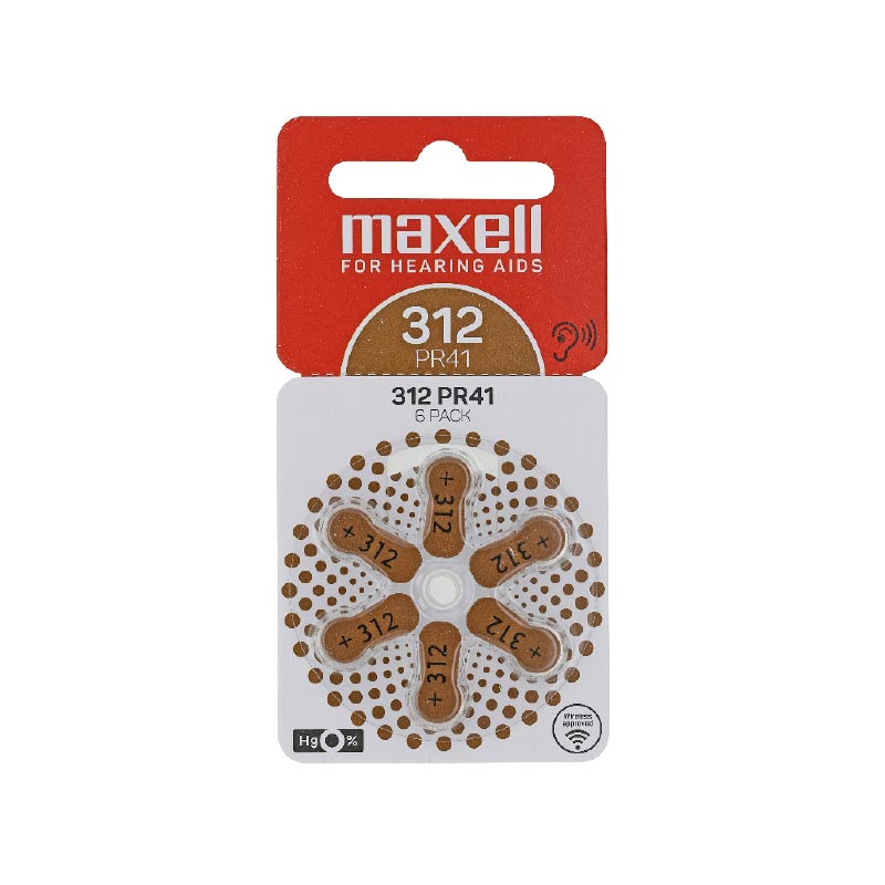 Piles auditives 312 Maxell (blister de 6)
