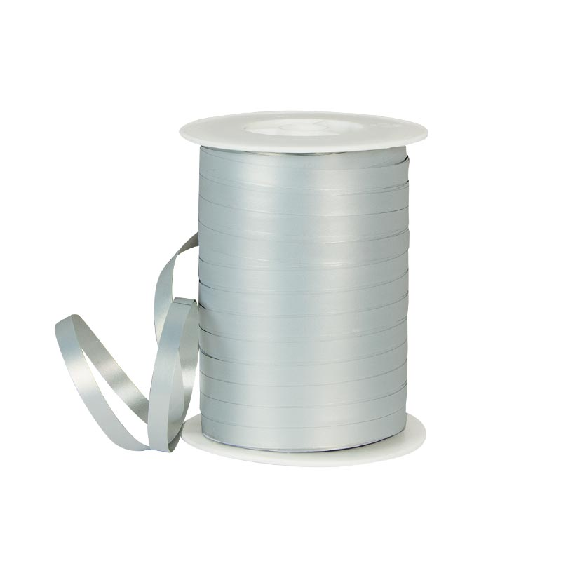 Powder finish silver gift curling ribbon
