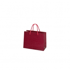 Red crocodile embossed paper boutique bags with plaited rope handles, 190g