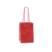Red crocodile embossed paper boutique bags with rope handles