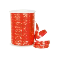 Red gift curling ribbon with gold arabesques