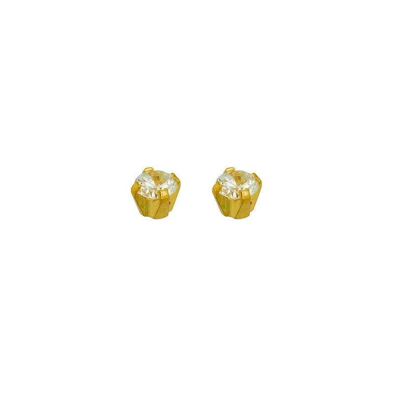 Safetec® Gold piercing stud earrings by Caflon in 9ct gold with claw-set cubic zirconia