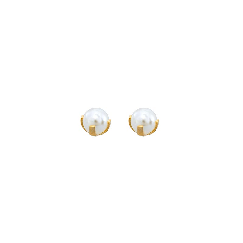 Safetec® Gold piercing studs in 18ct gold set with synthetic pearl