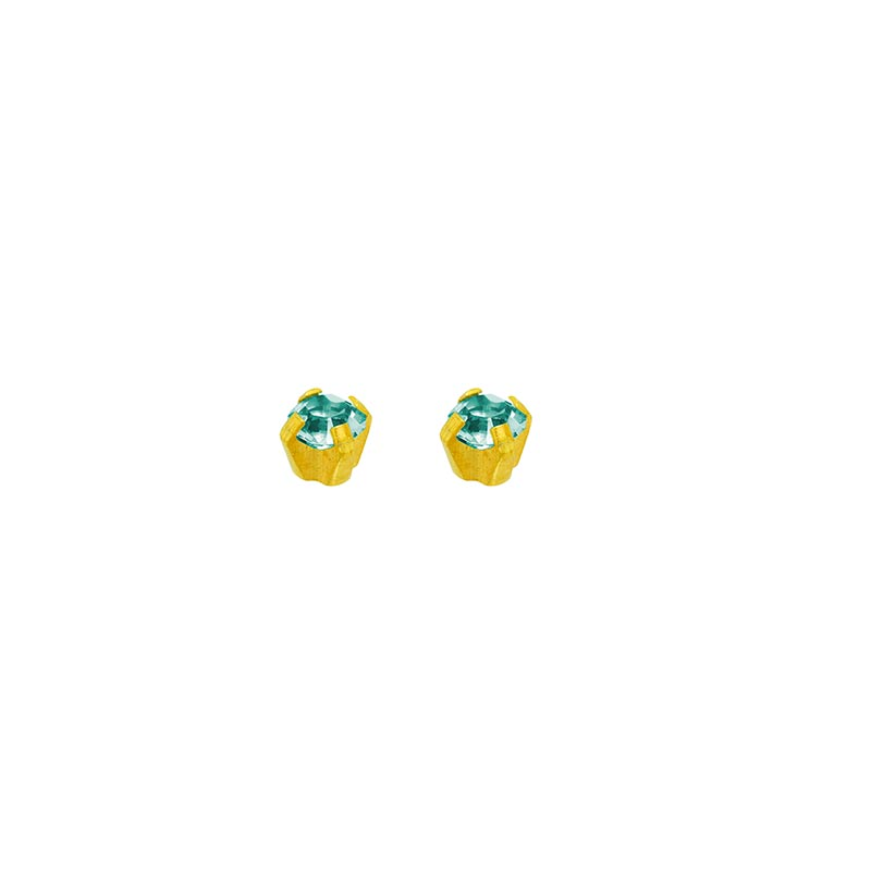 Safetec® Gold piercing studs in 18ct gold with claw set cubic zirconia