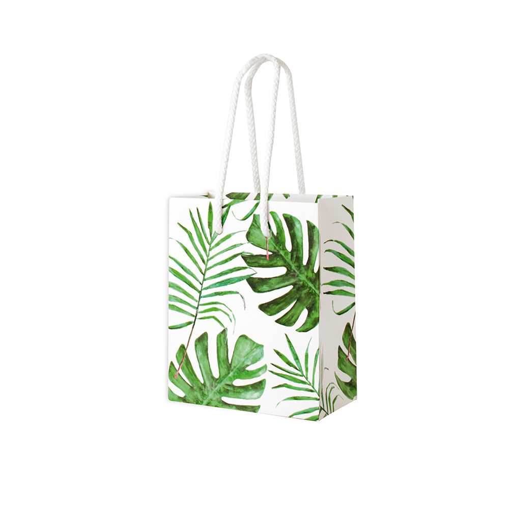 Satin-finish \\\'jungle\\\' paper boutique bags with cord handles, 180g