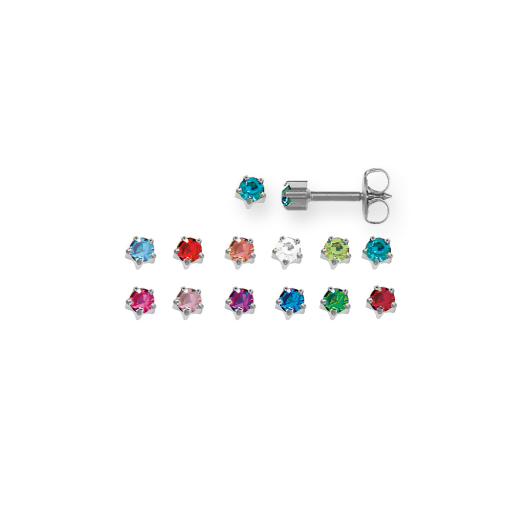 Set of 12 assorted pairs of Caflon ear piercing studs in nickel-free steel with claw-set crystals