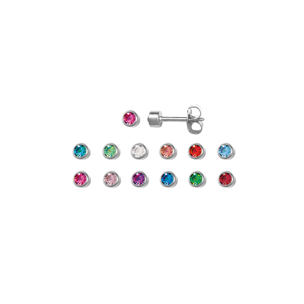 Set of Caflon steel ear piercing studs corresponding to Birthstone colours (x12)
