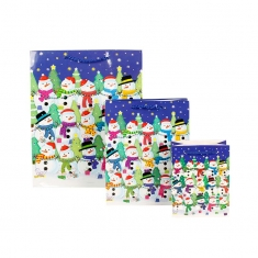 Set of three Christmas Snowmen paper carrier bags - different sizes - blue background, 115g