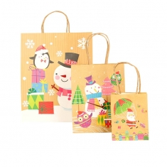 Set of three kraft Christmas carrier bags featuring different Christmas characters, 120g