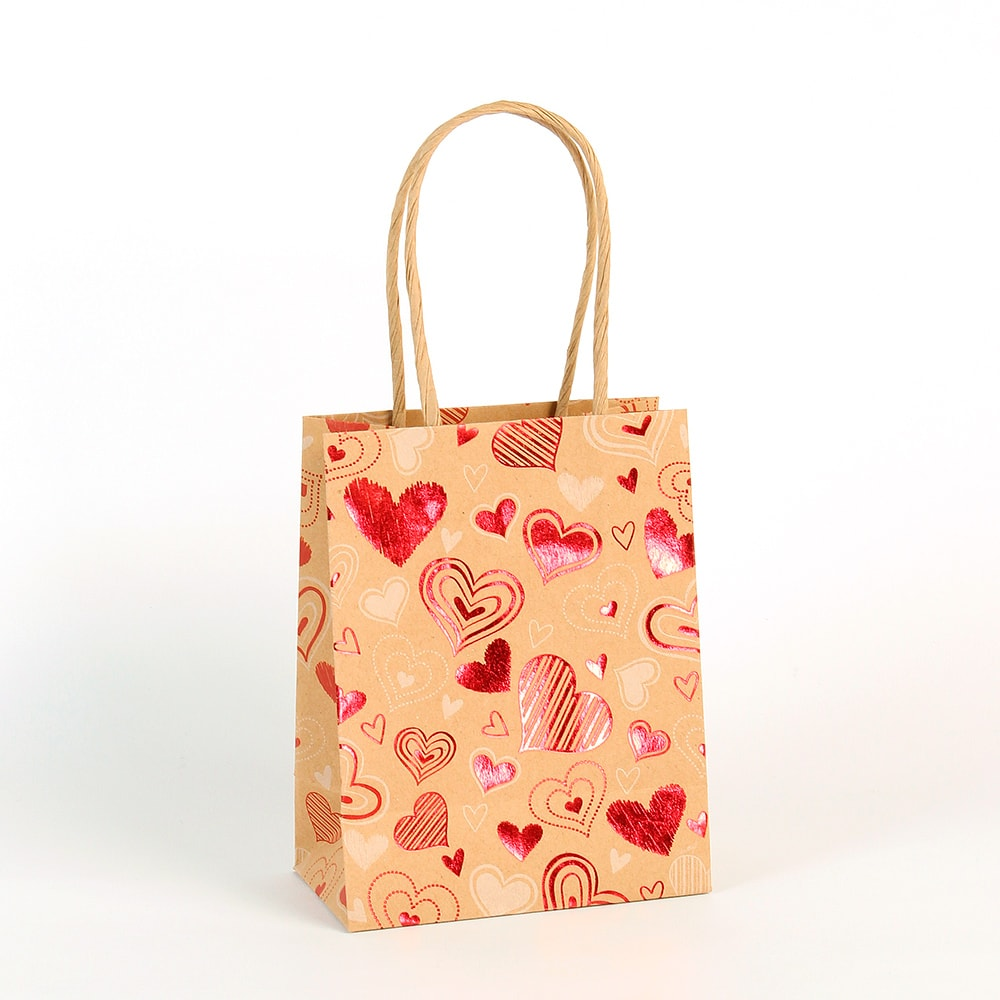 St Valentine\\\'s Day kraft paper carrier bag covered with red metallic hearts, twisted handles