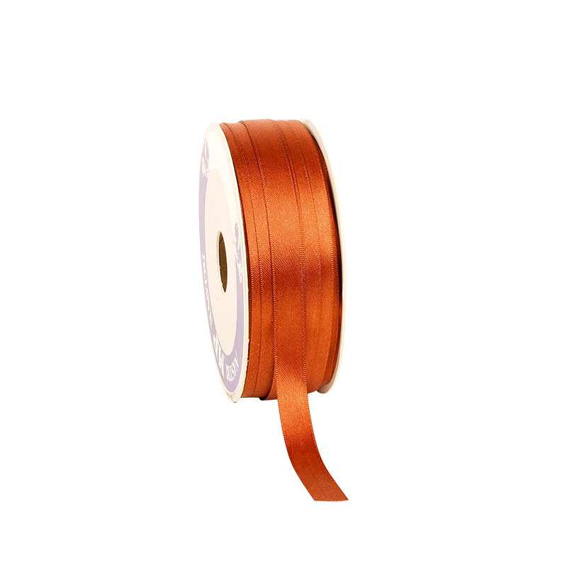 Terracotta-coloured satin-finish ribbon