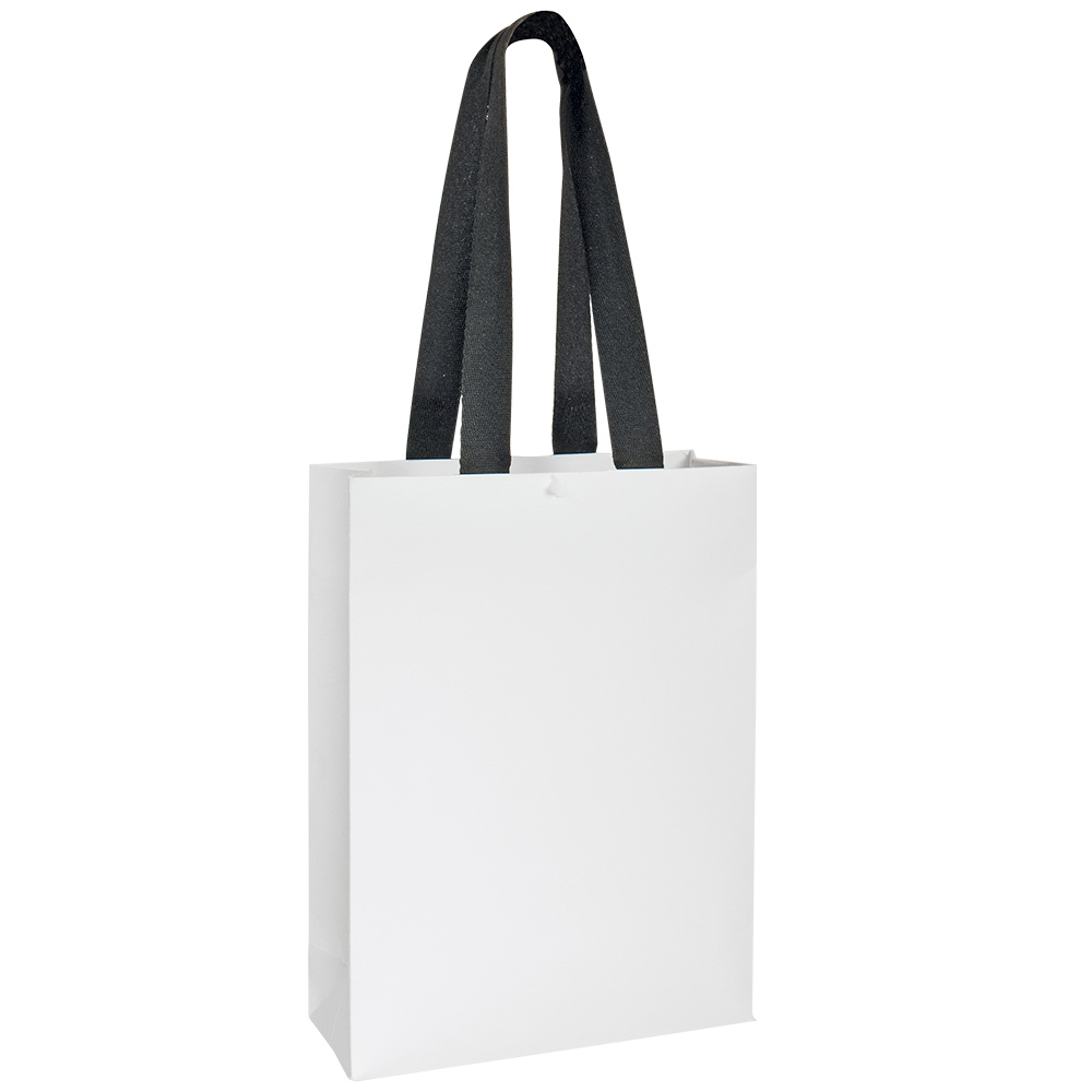 White Paper Boutique Bags With Herringbone Weave Tape Handles